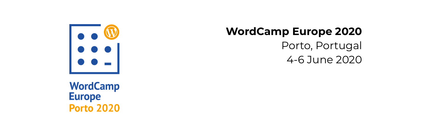 WordCamp Europe 2020 header with logo on the left and location and time text on the right